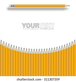 Composition from group yellow pencils isolated on white background