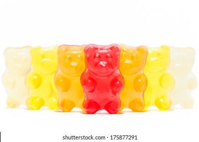 Composition of gummy bears as concept of candy