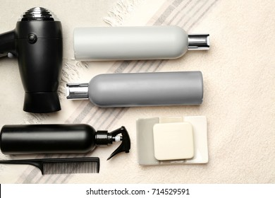 Composition with hair dryer on light background