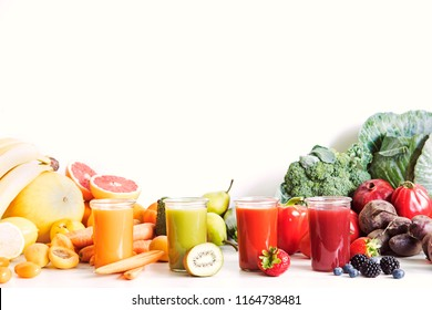 Composition of healthy detox juices and smoothies with seeds. Healthy vegetables and fruits on the white background, copy space