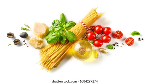 composition of healthy food ingredients isolated on white background, top view