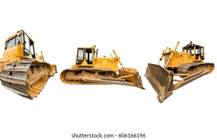 Composition with heavy dirty building bulldozers of yellow color, isolated on white.