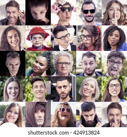 composition of human faces with funny expressions on a vintage color filtered look