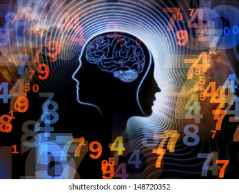 Composition of human feature lines and symbolic elements on the subject of human mind, consciousness, imagination, science and creativity
