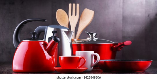 Composition with kitchen vessels, kettles and cups.
