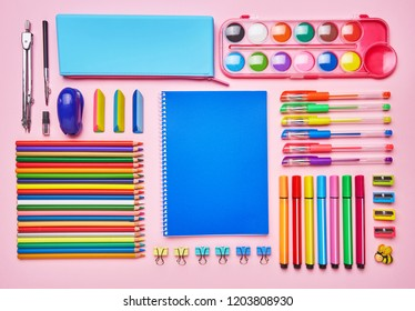 The composition is laid out from a color school stationery. School and office supplies frame. Top view, Flat lay. copyspace