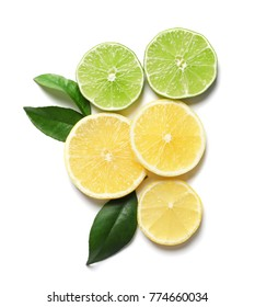 Composition with lemon and lime slices on white background