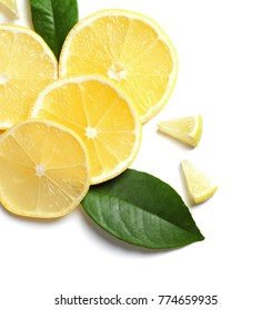 Composition with lemon slices on white background