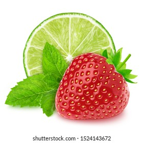 Composition with lime and strawberry isolated on a white background with clipping path. Variation on a Mojito theme.