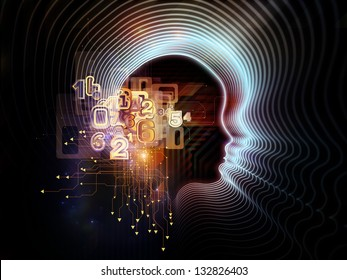 Composition of lines of human head, fractal grids and technology related symbols suitable as a backdrop for the projects on artificial intelligence, science, education and technology