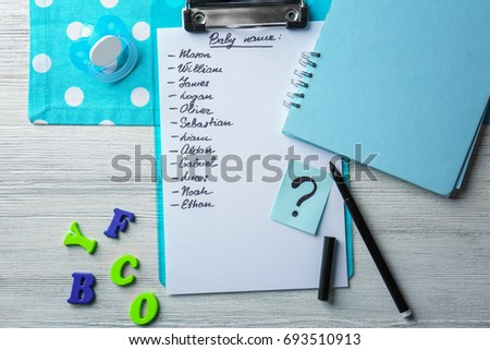 67cd2ef6611d Composition List Baby Names On Wooden Stock Photo (Edit Now ...