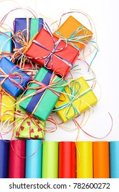 Composition of many colorful gifts and wrapping paper