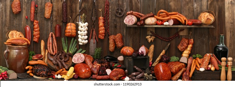 Composition of meats. Traditionally smoked meats in a composition