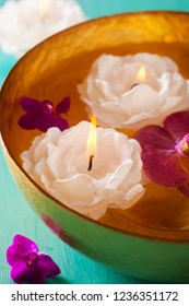 Composition for meditation-candles with Orchid in water