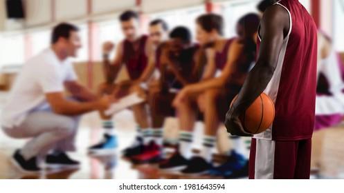 Composición de la mitad de la sección masculina de baloncesto con la sala de cambio del equipo de baloncesto. concepto de deporte y competencia de imagen generada digitalmente.