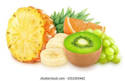 Composition with mix of tropical fruits isolated on a white background with clipping path.