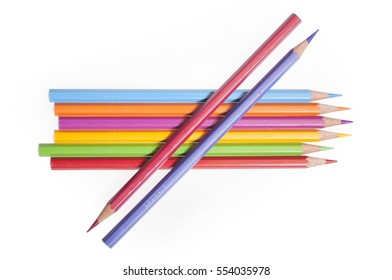 Composition of mixed color crayon. High brightness