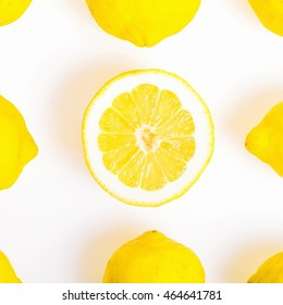 Composition with nine Lemons, one of them cut in half,  photo  Flat Lay Style and Square cut