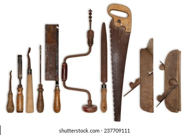 composition of old tools for wood