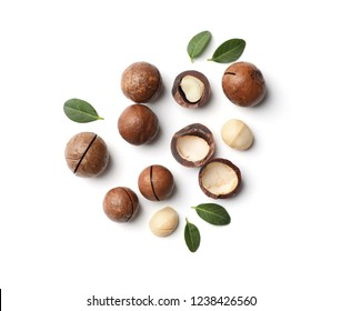 Composition with organic Macadamia nuts on white background, top view