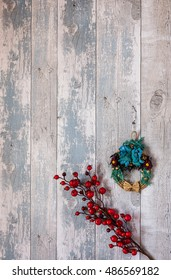 Composition of ornaments for Christmas decoration From above
