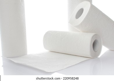 Composition with paper towel rolls, isolated on white