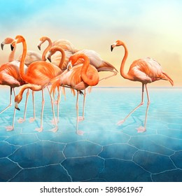 Composition photo manipulation with a range of beautiful red flamingo at left side in the blue surreal desert with a sunset sky