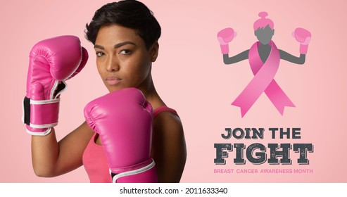 Composition of pink ribbon logo and breast cancer text, with woman wearing boxing gloves. breast cancer positive awareness campaign concept digitally generated image.