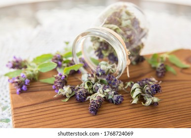 Composition of Prunella vulgaris (known as common self-heal, heal-all, woundwort dry herbal tea powder with fresh fresh flowers on natural wooden board.