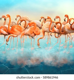 Composition with a range of beautiful red flamingo in the blue surreal desert with colorful sunset sky
