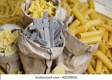 composition of raw pasta, frame of raw pasta. room for text