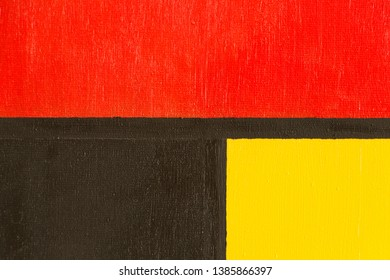 Composition with red, blue and yellow. Painting. Oil on canvas.