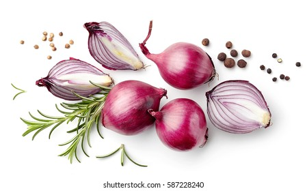 composition of red onions and spices isolated on white background, top view