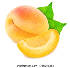 Composition with Ripe Apricots Isolated on White Background