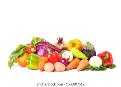 Composition with ripe vegetables isolated. Good harvest