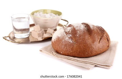 Composition with rye bread isolated on white