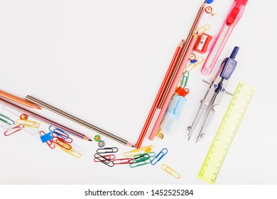 Composition of school stationery top view