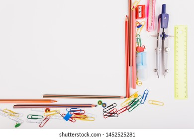 Composition of school supplies top view