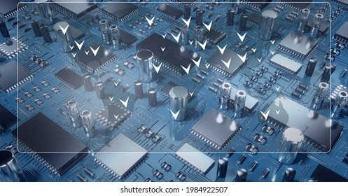 Composition of screen with white arrows ver computer processor circuit board server. global connections, technology and digital interface concept digitally generated image.