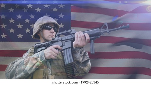 Composition of soldier shooting against american flag. united states of america patriotism and independence concept digitally generated image.