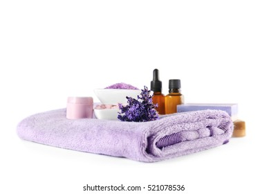 Composition of spa lavender treatments on white background