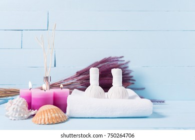 Composition of spa treatment on blue wooden background