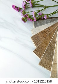Composition space on white marble stone pattern  texture with vinyl wood planks sample for floor tiles decorate style