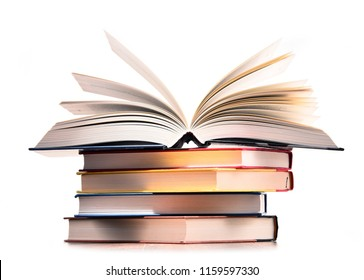 Composition with stack of books isolated on white.