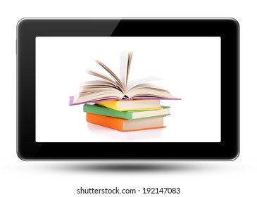 Composition with stack of books in the monitor of a touch screen