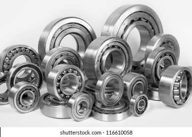 Composition of steel ball bearings in closeup