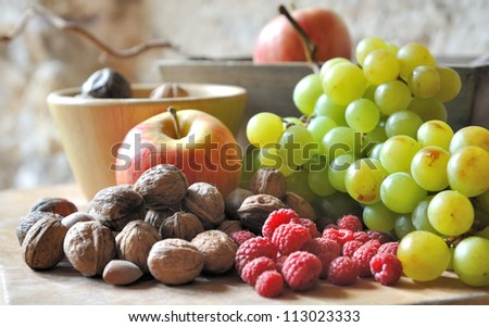 composition of still life with fruit in season