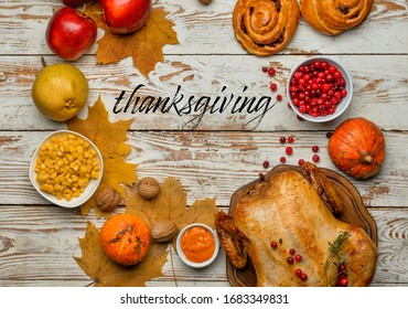 Composition with tasty food for Thanksgiving day on table