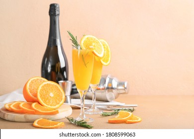 Composition with tasty mimosa cocktails on table