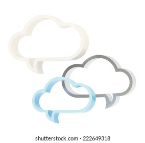 Composition of three cloud shaped text bubbles isolated over the white background